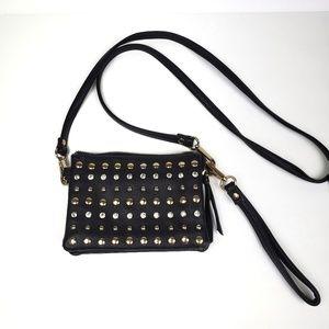Crossbody bag black embellished